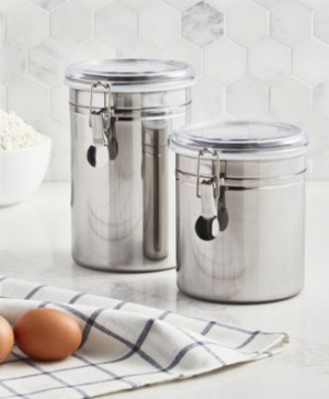 ihocon: Martha Stewart Essentials Set of 2 Food Storage Canisters 不銹鋼食物密封罐