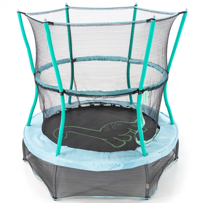 ihocon: Skywalker Trampolines 55-Inch Bounce-N-Learn Trampoline, with Enclosure and Sound, Stomping Dinosaur 彈跳蹦床, 含防護安全網