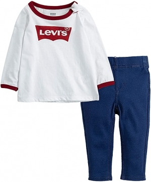 ihocon: Levi's Baby Girls' Long Sleeve Top and Leggings 2-Piece Outfit Set 嬰幼兒套裝