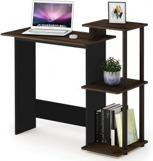 ihocon: FURINNO Efficient Home Laptop Notebook Computer Desk, Square Side Shelves, Columbia Walnut/Brown 電腦桌