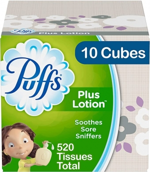 ihocon: Puffs Plus Lotion Facial Tissues, 10 Cubes, 52 Tissues per Box (520 Tissues Total) 液面紙