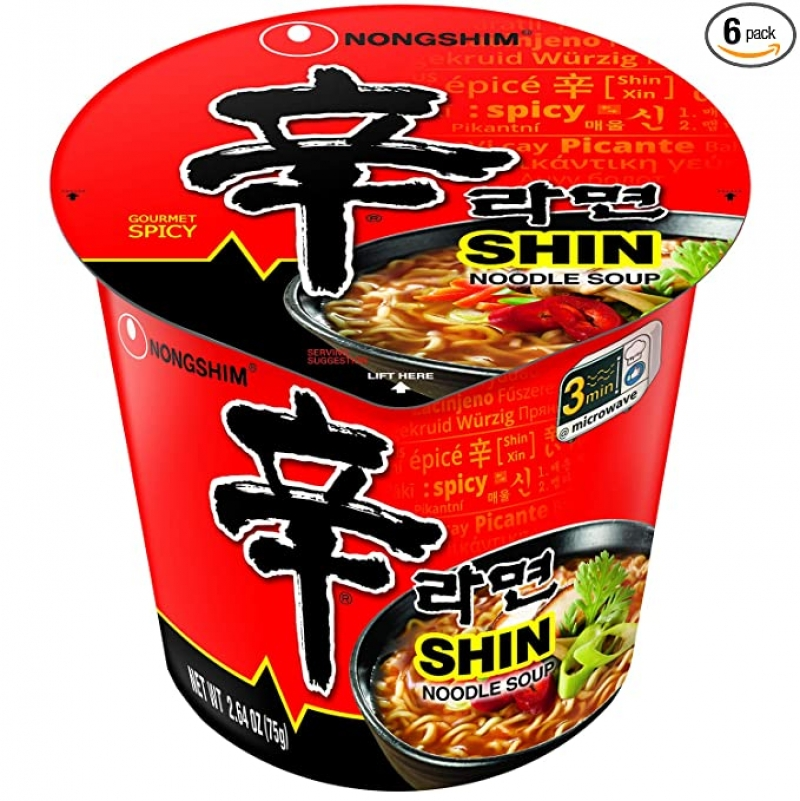 ihocon: Nongshim Shin Cup Noodle Soup, Gourmet Spicy, 2.64 Ounce (Pack of 6) 辛拉麵