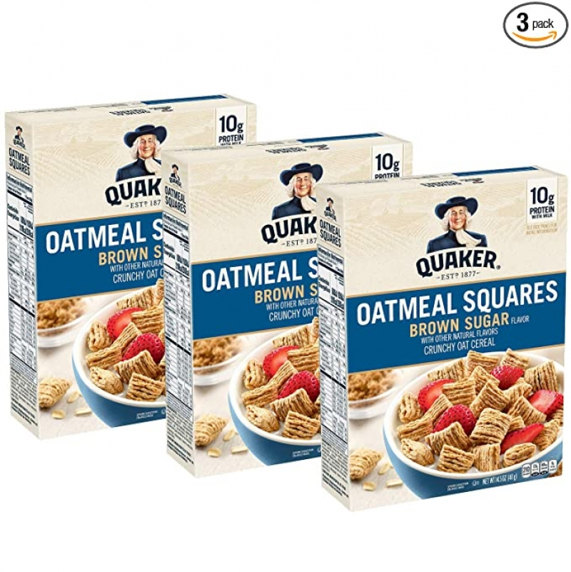 ihocon: Quaker Oatmeal Squares Breakfast Cereal, Brown Sugar, 14.5oz Boxes (3 Pack)
