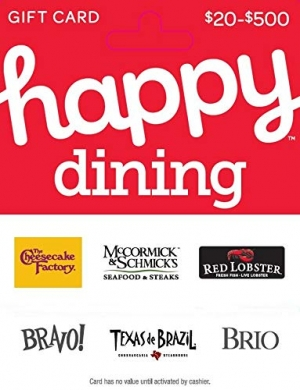 [Amazon限時特價] $50 Happy Gift Card只賣42.50, 可用於Red Lobster, Cheesecake Factory, McCormick & Schmick's….等餐廳