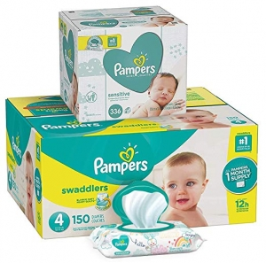 ihocon: Pampers Swaddlers Disposable Baby Diapers and Water Baby Wipes Sensitive Pop-Top Packs, Diapers Size 4 尿片+ 濕巾