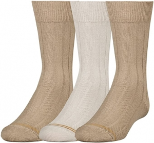 ihocon: Gold Toe Boys' Wide Rib Dress Crew Socks, 3-Pair 童襪