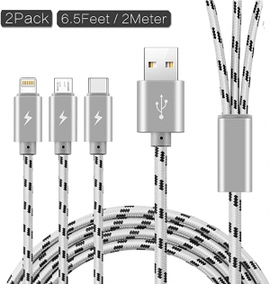 ihocon: ASICEN 3 in 1 Nylon Braided Multiple USB Fast Charger Cable Micro USB/Type C/iPhone