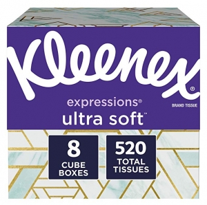 ihocon: Kleenex Expressions Ultra Soft Facial Tissues, 8-Pack of 65-Count (520 Tissues Total)超柔軟面紙