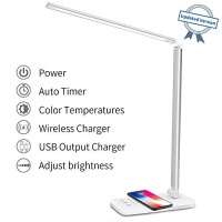 ihocon: MCHATTE LED Dimmable Desk Lamp with USB Charging Port 護眼桌燈, 內建手機無線充電