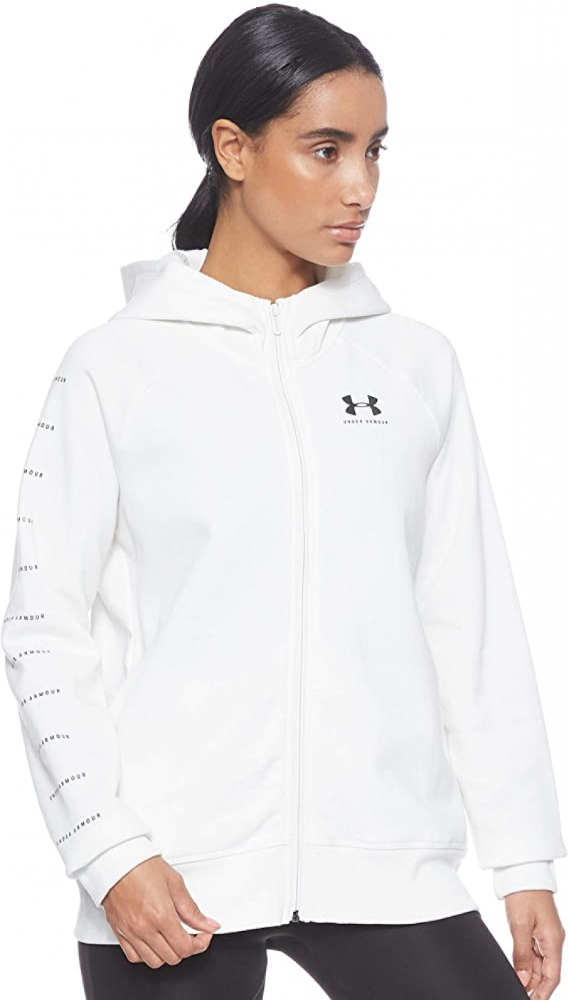 ihocon: Under Armour Women's Rival Fleece Sportstyle Lc Sleeve Graphic Full Zip 女士連帽夾克, size: L