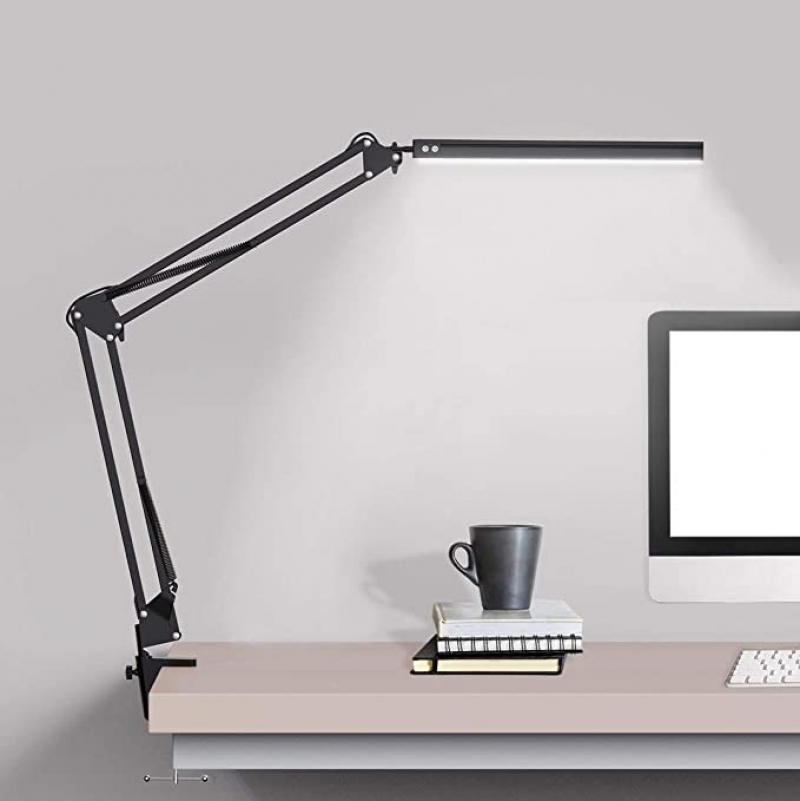 ihocon: Beetwo LED Swing Arm Desk Lamp with Clamp, 3 Color Modes, 10-Level Dimmer 夾式護眼桌燈