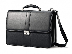 ihocon: Samsonite Leather Flapover Case, Black 真皮公事包