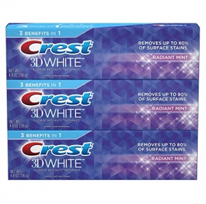 ihocon: Crest 3D White Toothpaste Radiant Mint 4.8 oz (3 pack)  美白色牙膏
