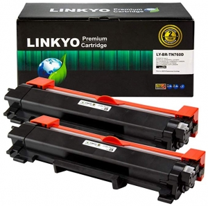 ihocon: LINKYO Compatible Toner Cartridge Replacement for Brother TN760 TN-760 TN730 (Black, High Yield, 2-Pack) 印表機墨匣2個