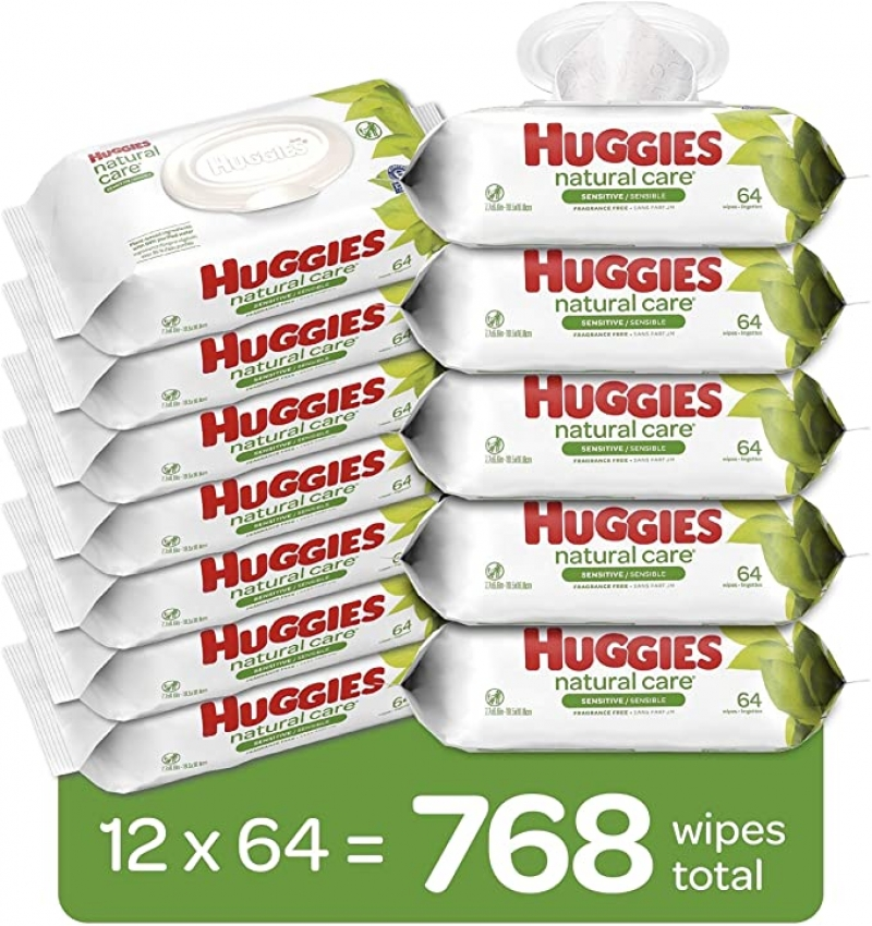 ihocon: Huggies Natural Care Sensitive Baby Wipes, Unscented, 12 Flip-Top Packs (768 Wipes Total)  嬰兒濕巾
