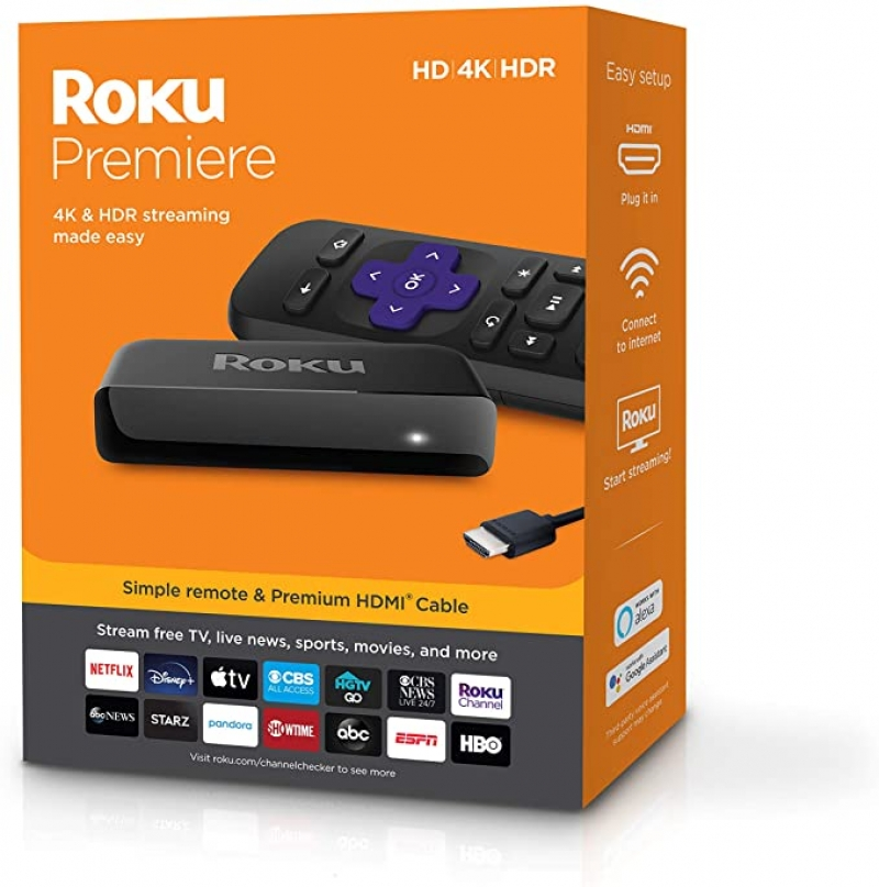 ihocon: Roku Premiere HD/4K/HDR Streaming Media Player, Simple Remote and Premium HDMI Cable 電視盒