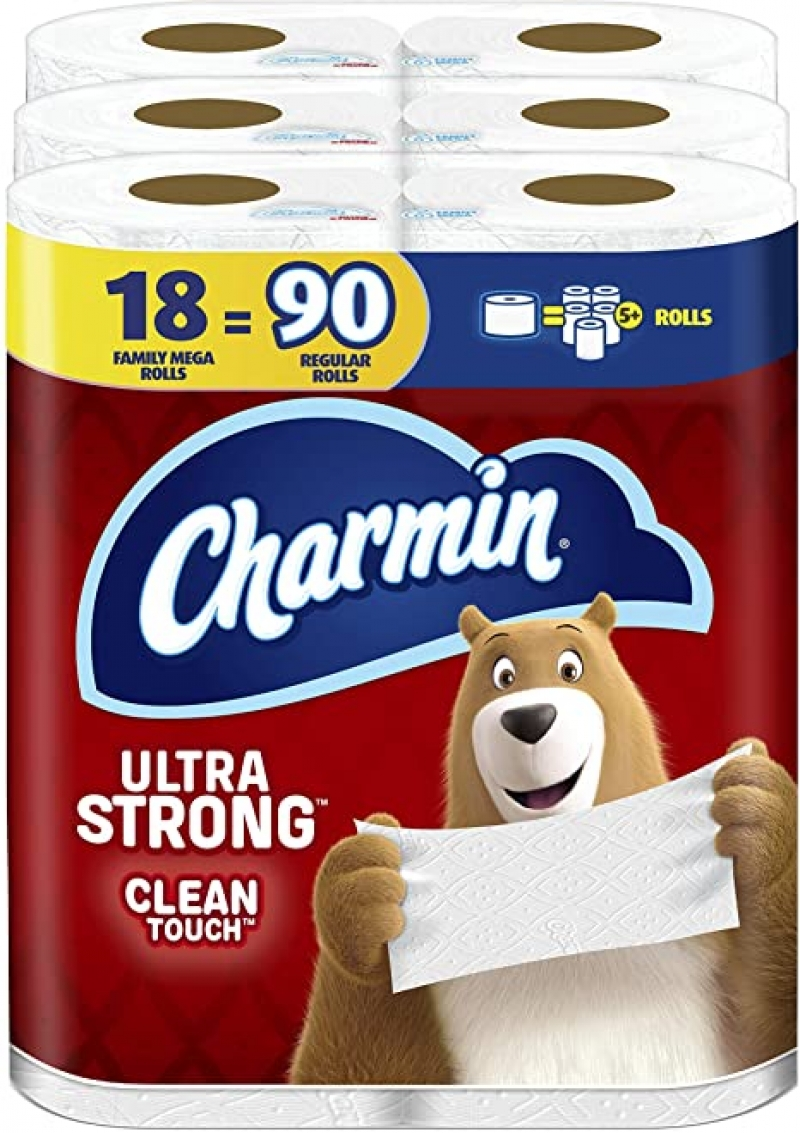 ihocon: Charmin Ultra Strong Clean Touch Toilet Paper, 18 Family Mega Rolls = 90 Regular Rolls 家庭裝超級大卷 廁所衛生紙