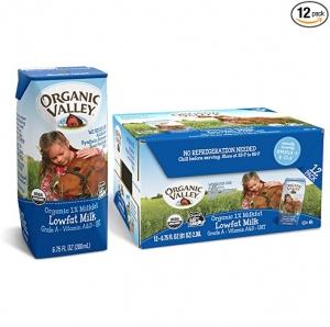 ihocon: Organic Valley 1% Milk, 6.75oz (Pack of 12) 有機牛奶