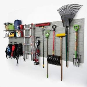 ihocon: Flow Wall Modular Garage Wall Panel Storage Set with Accessories in Silver (15-Piece) 車庫牆板置物組