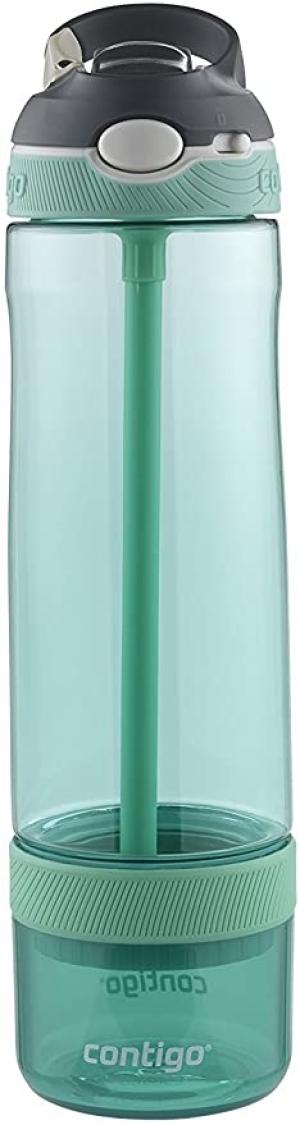 ihocon: Contigo AUTOSPOUT Straw Ashland Water Bottle with Infuser, 26 oz., Grayed Jade 吸管水瓶
