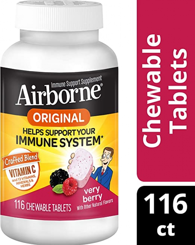[快, 打折了] Airborne Vitamin C 1000mg 免疫力增強嚼錠 116粒 $16.89(原價$22.50)