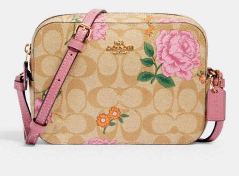 ihocon: Coach mini camera bag in signature canvas with prairie rose print 玫瑰相機包