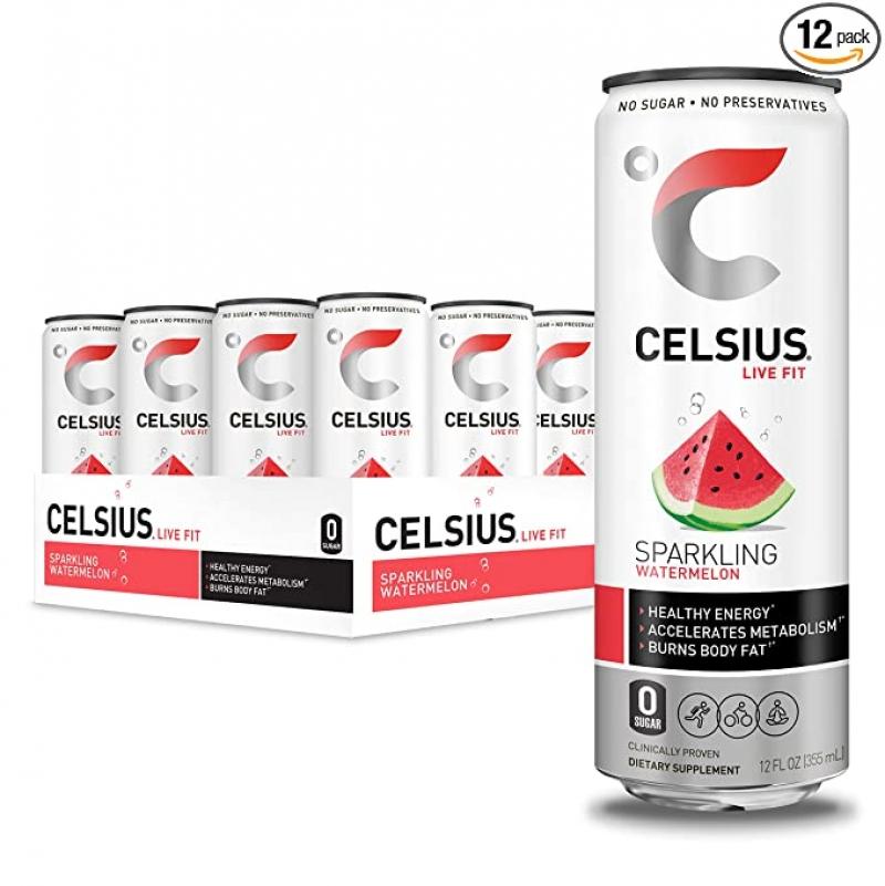 ihocon: CELSIUS Sparkling Watermelon Fitness Drink, Zero Sugar, 12oz. Slim Can (Pack of 12) 西瓜口味汽泡健身飲料