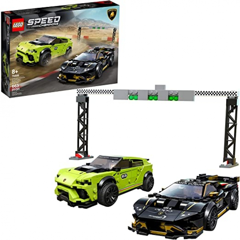 ihocon: [2020新款] LEGO Speed Champions Lamborghini Urus ST-X and Lamborghini Huracán Super Trofeo EVO 76899 Model Car Building Kit, New 2020 (663 Pieces) 樂高藍寶堅尼