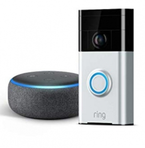 ihocon: Ring Wi-Fi Enabled Video Doorbell in Satin Nickel with Echo Dot 3rd Gen (Charcoal Gray)