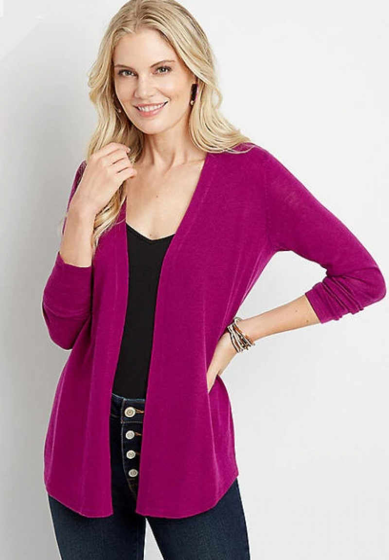 ihocon: Solid Pointelle Back Open Front Cardigan