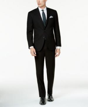 ihocon: Kenneth Cole Reaction, Kenneth Cole Reaction Men's Techni-Cole Solid Black Slim-Fit Suit 男士西裝