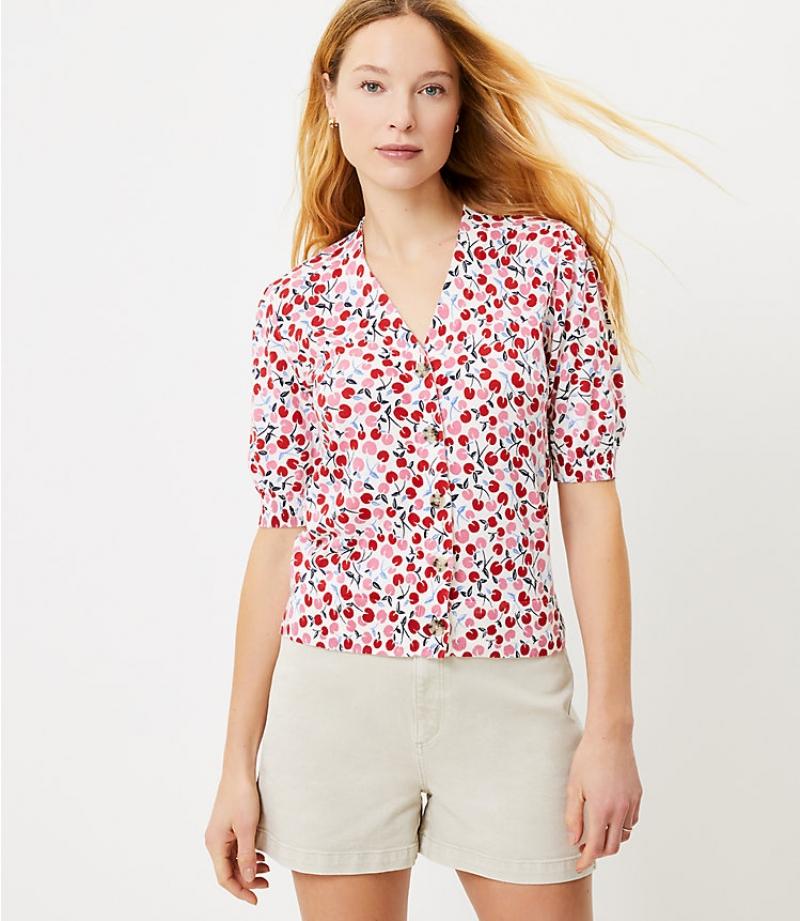 ihocon: Loft Cherry Puff Sleeve V-Neck Cardigan 女士短袖上衣