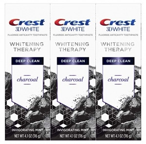 ihocon: Crest Charcoal 3D White Toothpaste, Whitening Therapy Deep Clean with Fluoride, Invigorating Mint, 4.1 Ounce, Pack of 3美白牙膏