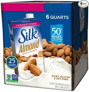 ihocon: Silk Almond Milk, Unsweetened Vanilla, 32 Fluid Ounce (Pack of 6) 無糖香草口味杏仁奶