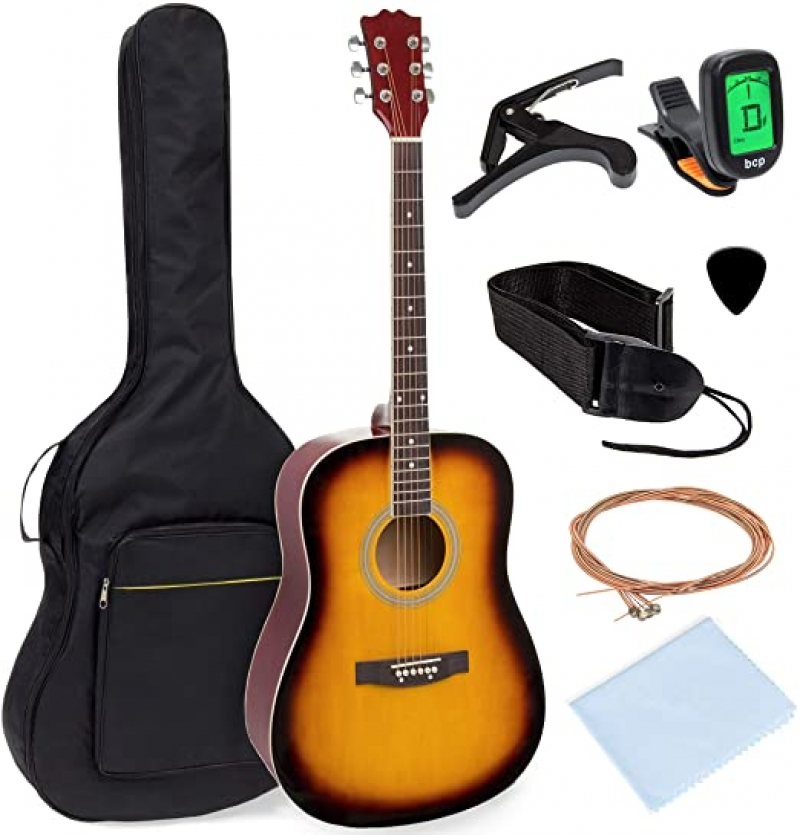 ihocon: Best Choice Products 41in Full Size Beginner All Wood Acoustic Guitar Starter Set 民謠吉他入門套裝(包含: 琴袋,背琴帶,變調夾,琴弦,撥弦器,調音器)
