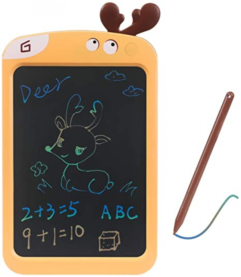 ihocon: genenic 8.5 inch Portable LCD Writing Tablet 彩色手寫.繪圖板筆的大屏幕塗鴉板,教育和學習玩具(黃鹿)