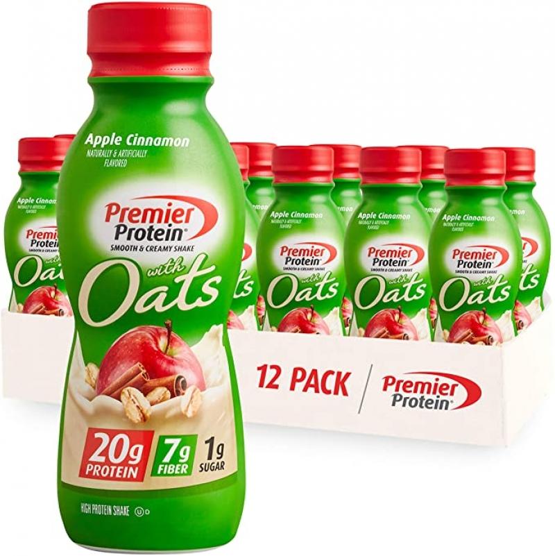 ihocon: Premier Protein Shake with Oats, Apple Cinnamon, 11.5 fl oz, 12 Pack 蛋白質奶昔