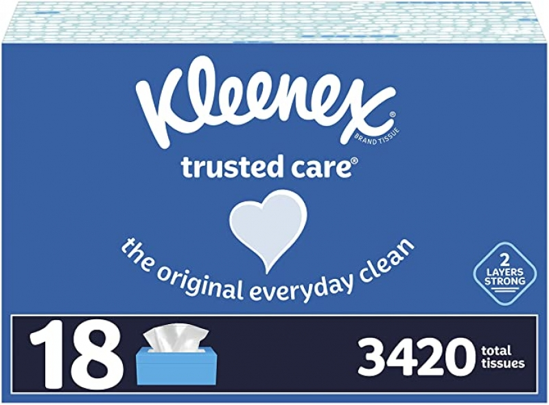 ihocon: Kleenex Trusted Care Facial Tissues, 18 Flat Boxes, 190 Tissues per Box (3,420 Total Tissues) 面紙