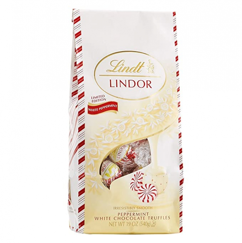 ihocon: Lindt Holiday Peppermint White Chocolate Truffles, 19 Oz  薄荷白巧克力