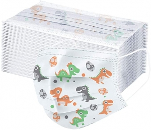 ihocon: Zackate Children Dinosaur Print Disposable Face Guard, 100PCS 兒童一次性口罩