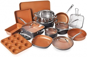 ihocon: Gotham Steel 20 Piece All in One Kitchen Cookware + Bakeware Set鍋組及不沾烤盤組