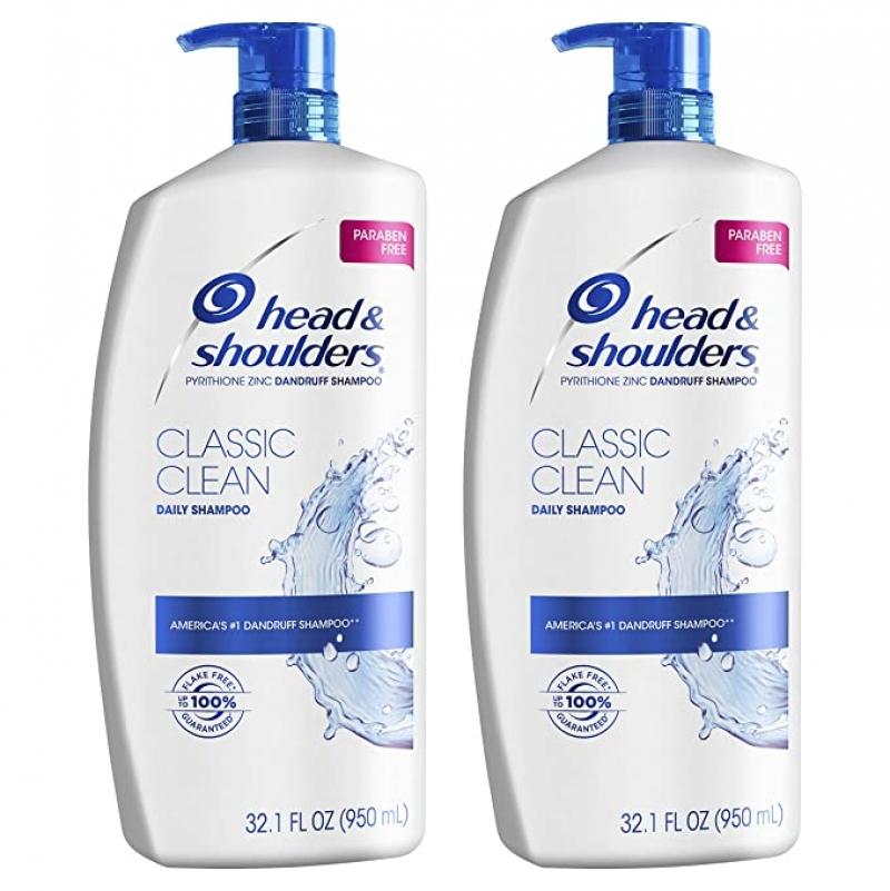 ihocon: Head and Shoulders Shampoo, Anti Dandruff Treatment and Scalp Care, Classic Clean, 32.1 fl oz, Twin Pack 抗頭皮屑治/頭皮護理 洗髮精