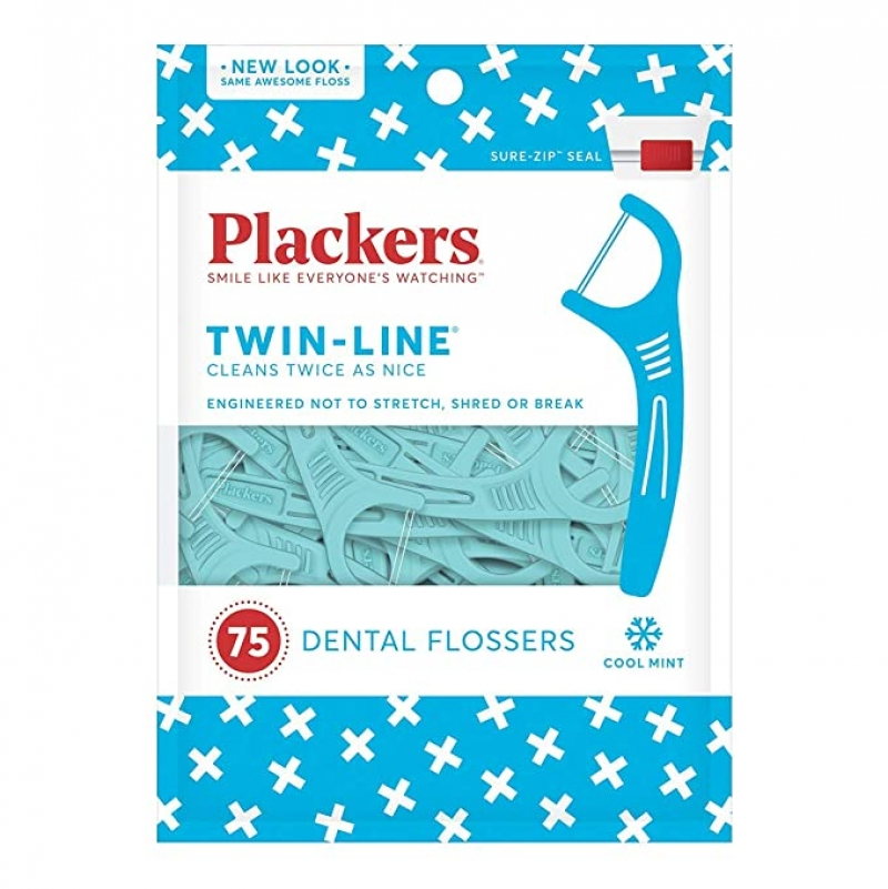 ihocon: Plackers Twin-Line Dental Floss Picks, 75 Count 牙線棒