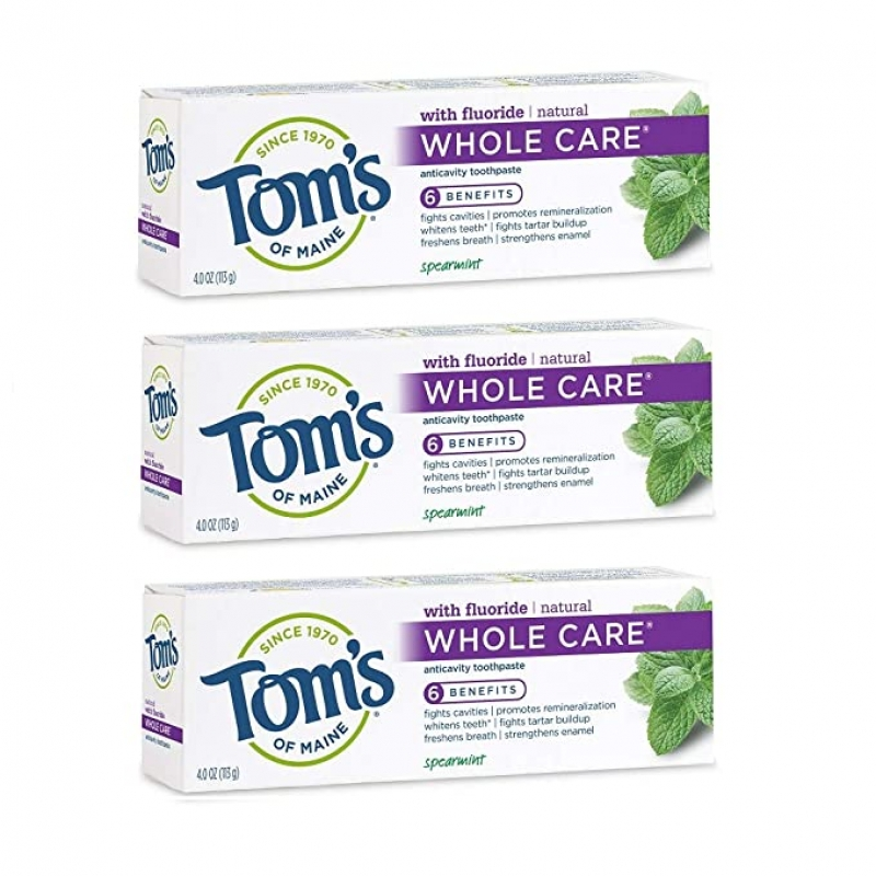 ihocon: Tom's of Maine Whole Care Natural Toothpaste with Fluoride, Spearmint, 4 oz. 3-Pack 天然含氟牙膏