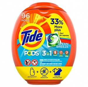 ihocon: Tide PODS Laundry Detergent Liquid Pacs, Clean Breeze Scent, HE Compatible, 96 Count 洗衣錠