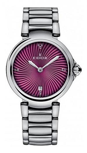 ihocon: Edox Women's 57002 3M Roin LaPassion Analog Display Swiss Quartz Silver Watch 女錶