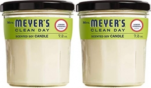 ihocon: Mrs. Meyer's Clean Day Scented Soy Candle, Large Glass, Lemon Verbena, 7.2 oz, 2 ct 香熏蠟燭