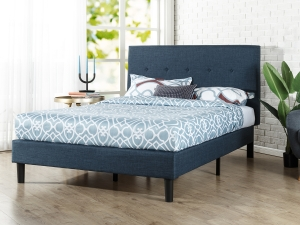 ihocon: Zinus Omkaram Upholstered Navy Platform Bed, King 床架含床頭板
