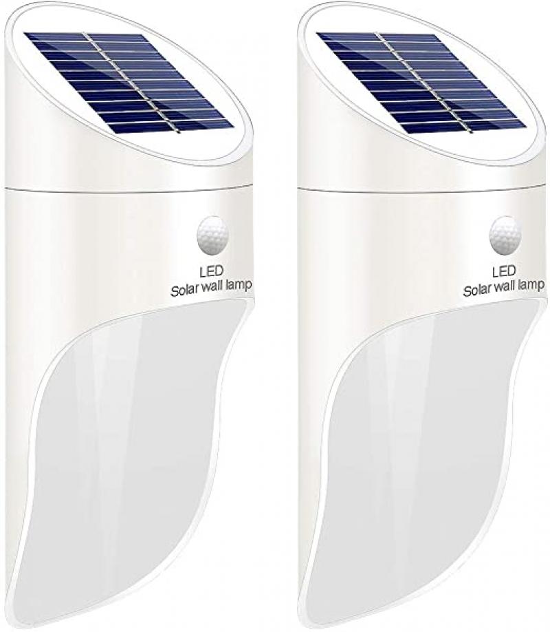 ihocon: Sonkoo White LED Motion Sensor Wall Lights , 2 Pack 太陽能動作感應室外燈 2盞