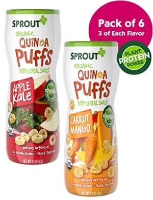 Sprout有機Quinoa藜麥泡芙嬰兒點心 6罐 $12.99(原價$19.99, 35% Off)